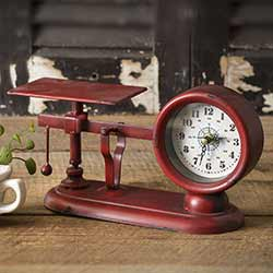 Red Vintage Balance Scale Clock