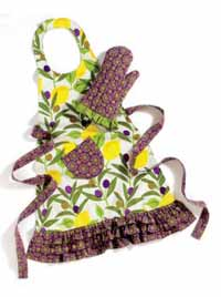 Lemons and Olives Apron or Oven Mitt