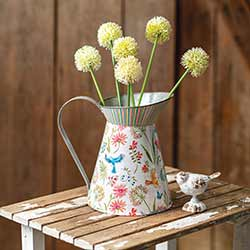 Floral Metal Pitcher with Birds