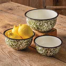 Green Splatterware Enamelware Bowls (Set of 3)