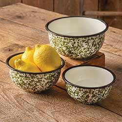 Green Splatterware Enamelware Bowls (Set of 3) (CLONE)
