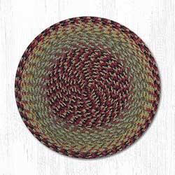 Burgundy, Black, and Sage Cotton Braid Chair Pad