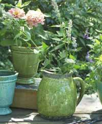 Rustic Terra Cotta Garden Pitcher (Green)
