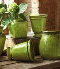 Rustic Terra Cotta Footed Pot (Green)