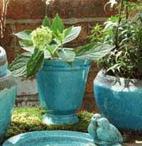 Rustic Terra Cotta Footed Pot (Aqua)