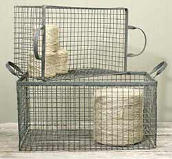 Galvanized Metal Wire Box Baskets (Set of 2)