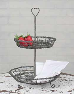 Wire Two Tier Serving Stand with Heart