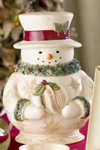 Deck the Halls Snowman Cookie Jar