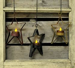 Hanging Star Tealight Holder - Burgundy