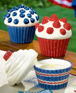 Stars and Stripes Cupcake Candle