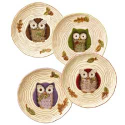 Crimson Hollow Owl Accent Plate
