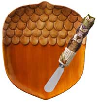 Crimson Hollow Acorn Plate with Spreader Set