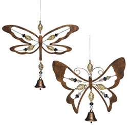 Dragonfly or Butterfly Hanging Decor with Bell