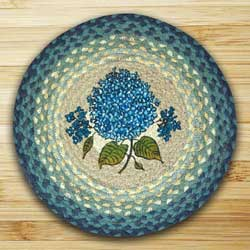Blue Hydrangea Braided Jute Chair Pad