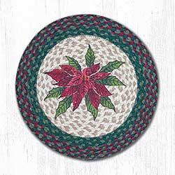 Poinsettia Braided Chair Pad