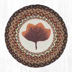 Autumn Leaf Round Braided Chair Pad