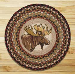 Moose Portrait Braided Jute Chair Pad