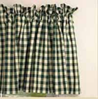 Dark Green Check Valance