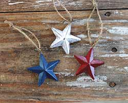 Red, White & Blue Mini Star Ornaments (Set of 3)