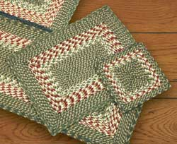 Green and Burgundy Cotton Braid Placemat - Rectangle