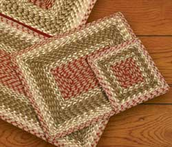 Olive, Burgundy, and Gray Cotton Braid Placemat - Rectangle