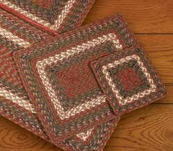 Burgundy and Gray Cotton Braid Placemat - Rectangle