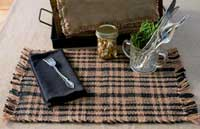 Black Plaid Jute Placemats (Set of 2)