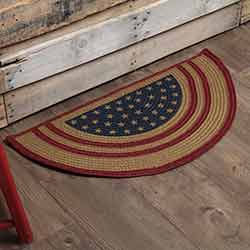 Liberty Stars Flag Braided Rug - Half Circle