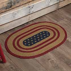 Liberty Stars Flag Oval Braided Rug (20 x 30 inch)