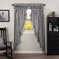Annie Buffalo Black Check Ruffled 84 inch Prairie Curtain