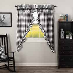 Annie Buffalo Black Check Ruffled 63 inch Prairie Curtain