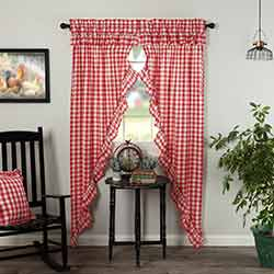 Annie Buffalo Red Check Ruffled 84 inch Prairie Curtain