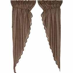 Black Check Scalloped Prairie Curtain Panels - 84 inch