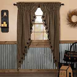 Black Star Scalloped Prairie Curtain Panels - 84 inch