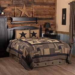 Black Check Star Quilt SET (Multiple Size Options)