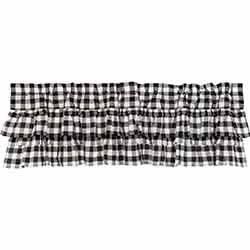 VHC Brands Annie Buffalo Black Check Ruffled Valance