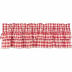 VHC Brands Annie Buffalo Red Check Ruffled Valance