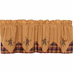 VHC Brands Heritage Farms Primitive Star and Pip Layered Valance