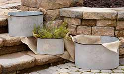 Large Galvanized Buckets (Set of 3)