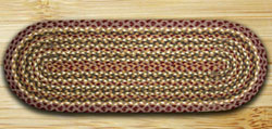 Olive, Burgundy, & Gray Jute 36 inch Table Runner