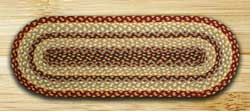 Burgundy, Gray, and Creme Jute Table Runner - 36 inch