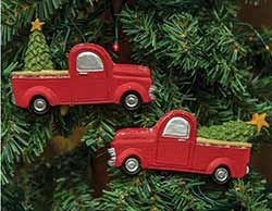 Red Vintage Pick Up Ornaments (Set of 2)