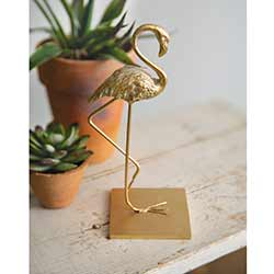 Gold Flamingo Cast Iron Figurine