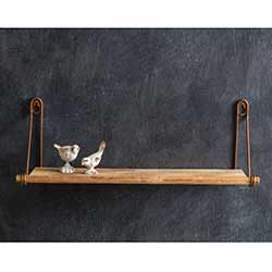 Antiqued Brass & Wood Wall Shelf