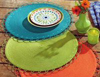 Chelsea Round Woven Placemat - Green