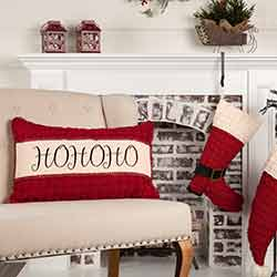 Chenille Christmas Ho Ho Ho Pillow 14x22