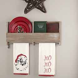 Chenille Christmas Ho Ho Ho Bleached White Muslin Tea Towel Set of 2 19x28