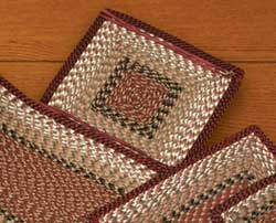 Burgundy and Mustard Cotton Tweed Chair Pad (Square)