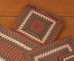 Burgundy and Gray Cotton Tweed Chair Pad (Square)