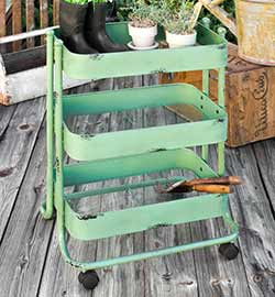Mint Green Vintage Metal Cart
